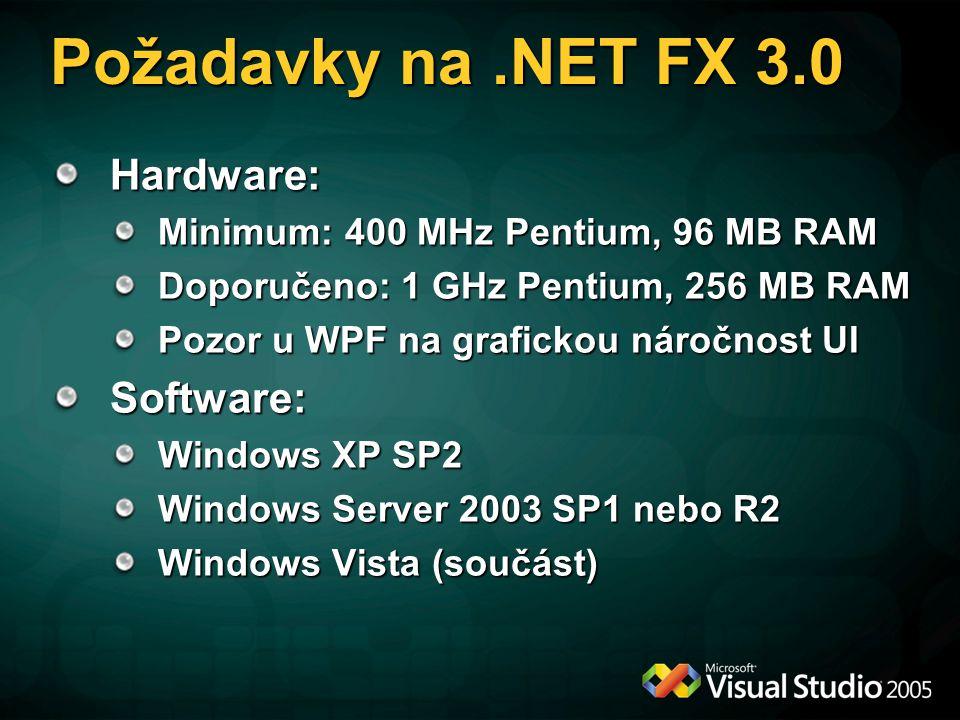 Požadavky na.NET FX 3.0 Hardware: Minimum: 400 MHz Pentium, 96 MB RAM Doporučeno: 1 GHz Pentium, 256 MB RAM Pozor u WPF na grafickou náročnost UI Soft