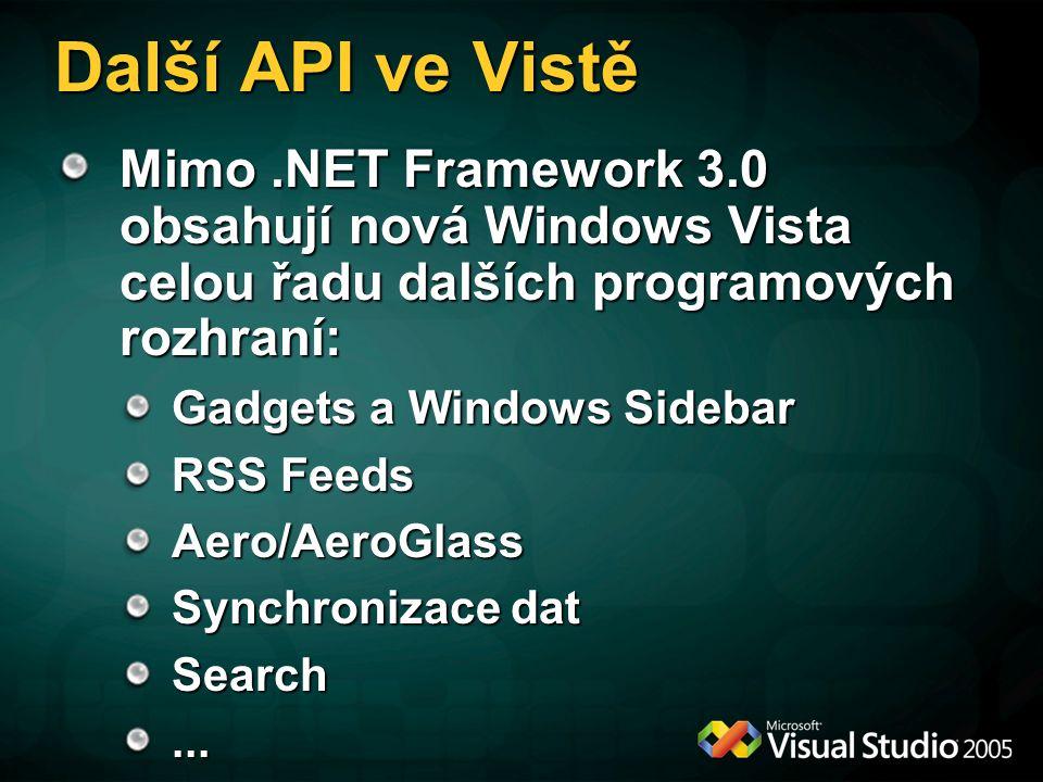 Další API ve Vistě Mimo.NET Framework 3.0 obsahují nová Windows Vista celou řadu dalších programových rozhraní: Gadgets a Windows Sidebar RSS Feeds Aero/AeroGlass Synchronizace dat Search...
