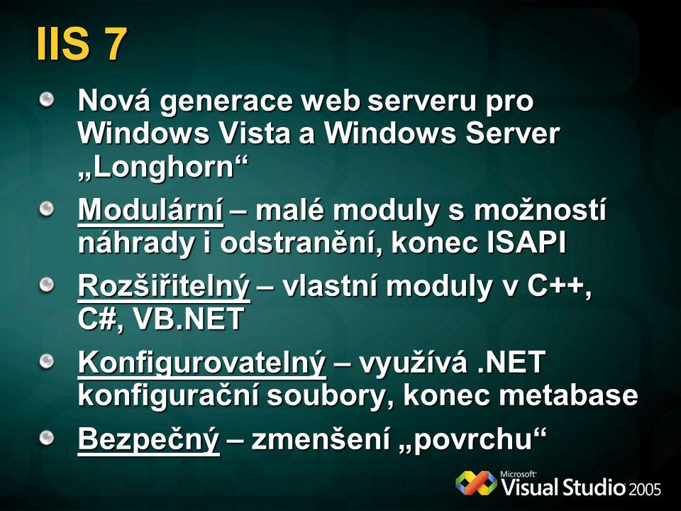 """IIS 7 Nová generace web serveru pro Windows Vista a Windows Server """"Longhorn Modulární – malé moduly s možností náhrady i odstranění, konec ISAPI Rozšiřitelný – vlastní moduly v C++, C#, VB.NET Konfigurovatelný – využívá.NET konfigurační soubory, konec metabase Bezpečný – zmenšení """"povrchu"""