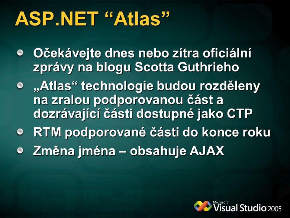 """ASP.NET Atlas Očekávejte dnes nebo zítra oficiální zprávy na blogu Scotta Guthrieho """"Atlas technologie budou rozděleny na zralou podporovanou část a dozrávající části dostupné jako CTP RTM podporované části do konce roku Změna jména – obsahuje AJAX"""