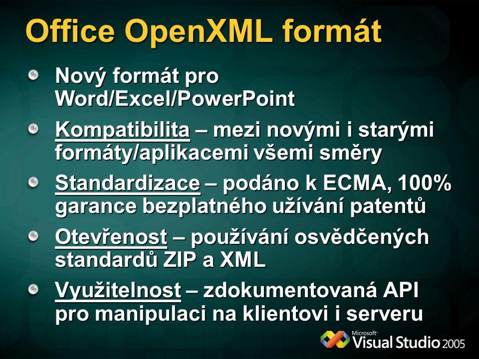 Office OpenXML formát Nový formát pro Word/Excel/PowerPoint Kompatibilita – mezi novými i starými formáty/aplikacemi všemi směry Standardizace – podáno k ECMA, 100% garance bezplatného užívání patentů Otevřenost – používání osvědčených standardů ZIP a XML Využitelnost – zdokumentovaná API pro manipulaci na klientovi i serveru