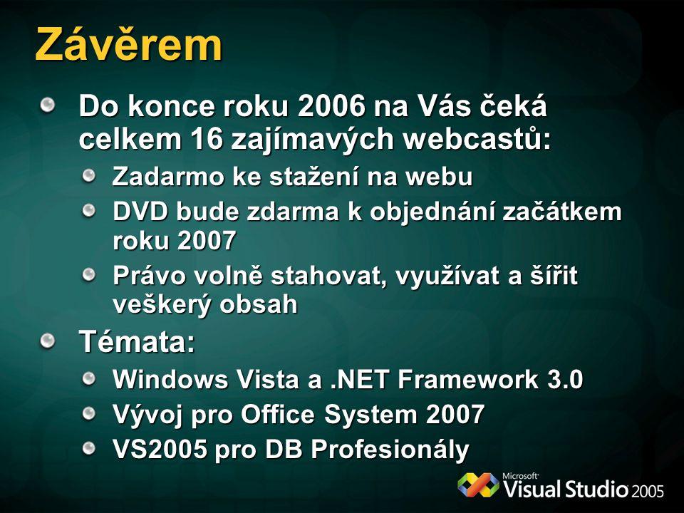 Závěrem Do konce roku 2006 na Vás čeká celkem 16 zajímavých webcastů: Zadarmo ke stažení na webu DVD bude zdarma k objednání začátkem roku 2007 Právo volně stahovat, využívat a šířit veškerý obsah Témata: Windows Vista a.NET Framework 3.0 Vývoj pro Office System 2007 VS2005 pro DB Profesionály