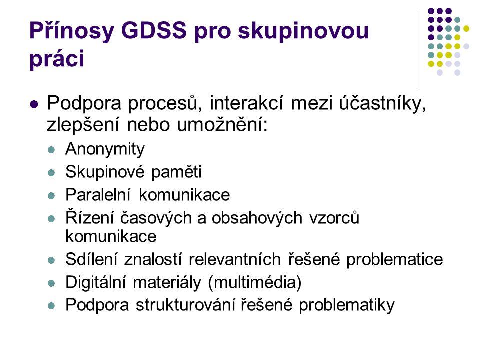 Přínosy GDSS pro skupinovou práci Podpora procesů, interakcí mezi účastníky, zlepšení nebo umožnění: Anonymity Skupinové paměti Paralelní komunikace Ř