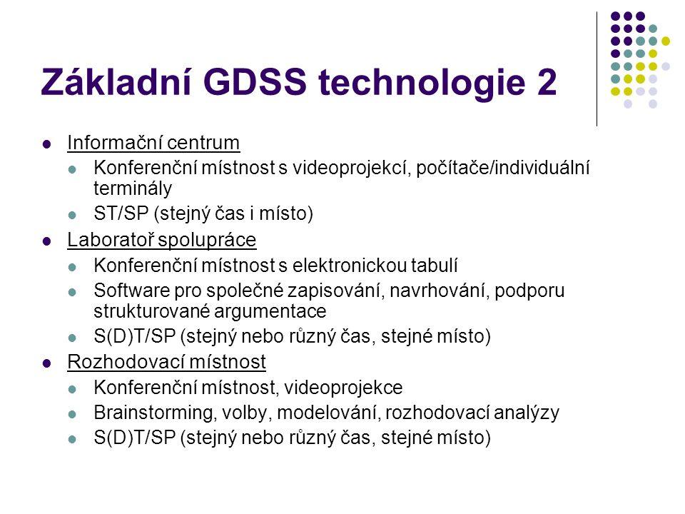 Základní GDSS technologie 2 Informační centrum Konferenční místnost s videoprojekcí, počítače/individuální terminály ST/SP (stejný čas i místo) Laboratoř spolupráce Konferenční místnost s elektronickou tabulí Software pro společné zapisování, navrhování, podporu strukturované argumentace S(D)T/SP (stejný nebo různý čas, stejné místo) Rozhodovací místnost Konferenční místnost, videoprojekce Brainstorming, volby, modelování, rozhodovací analýzy S(D)T/SP (stejný nebo různý čas, stejné místo)
