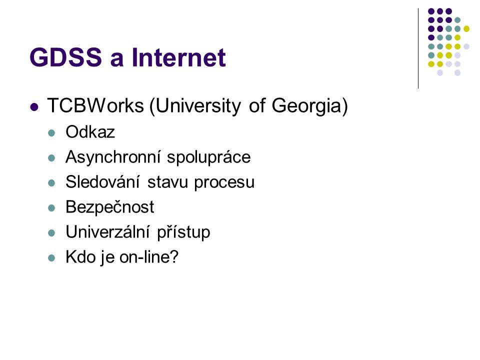 GDSS a Internet TCBWorks (University of Georgia) Odkaz Asynchronní spolupráce Sledování stavu procesu Bezpečnost Univerzální přístup Kdo je on-line?