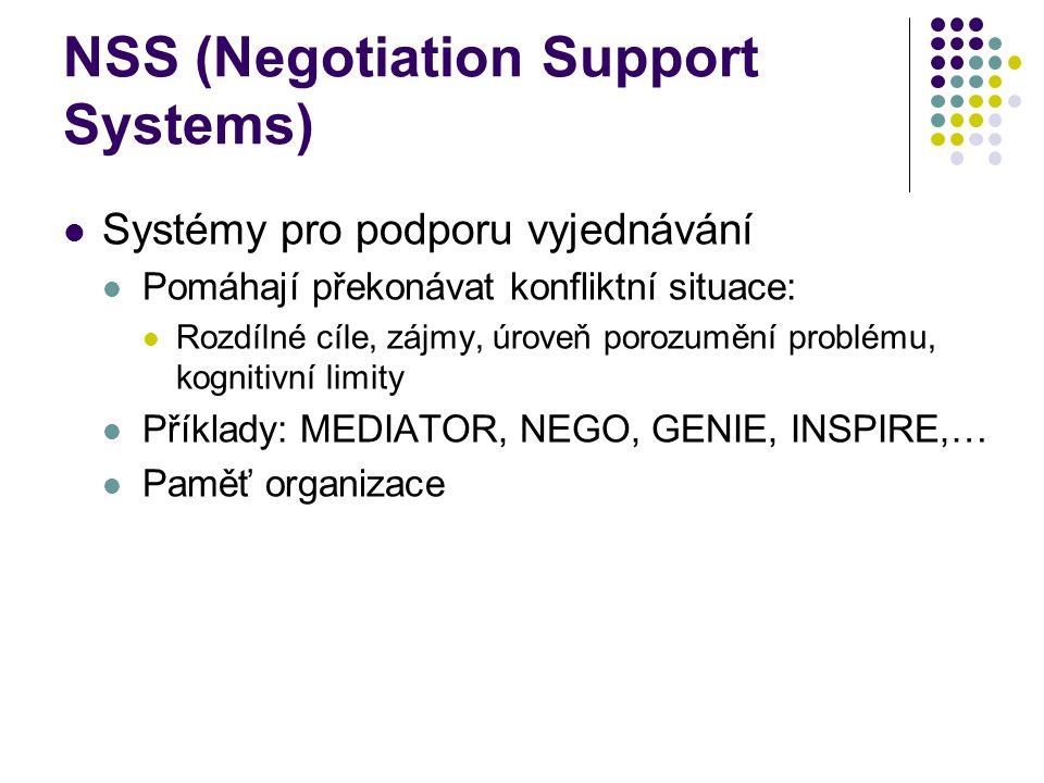 NSS (Negotiation Support Systems) Systémy pro podporu vyjednávání Pomáhají překonávat konfliktní situace: Rozdílné cíle, zájmy, úroveň porozumění problému, kognitivní limity Příklady: MEDIATOR, NEGO, GENIE, INSPIRE,… Paměť organizace