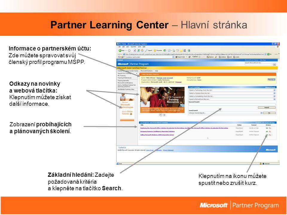 Partner Learning Center – Hlavní stránka Informace o partnerském účtu: Zde můžete spravovat svůj členský profil programu MSPP.
