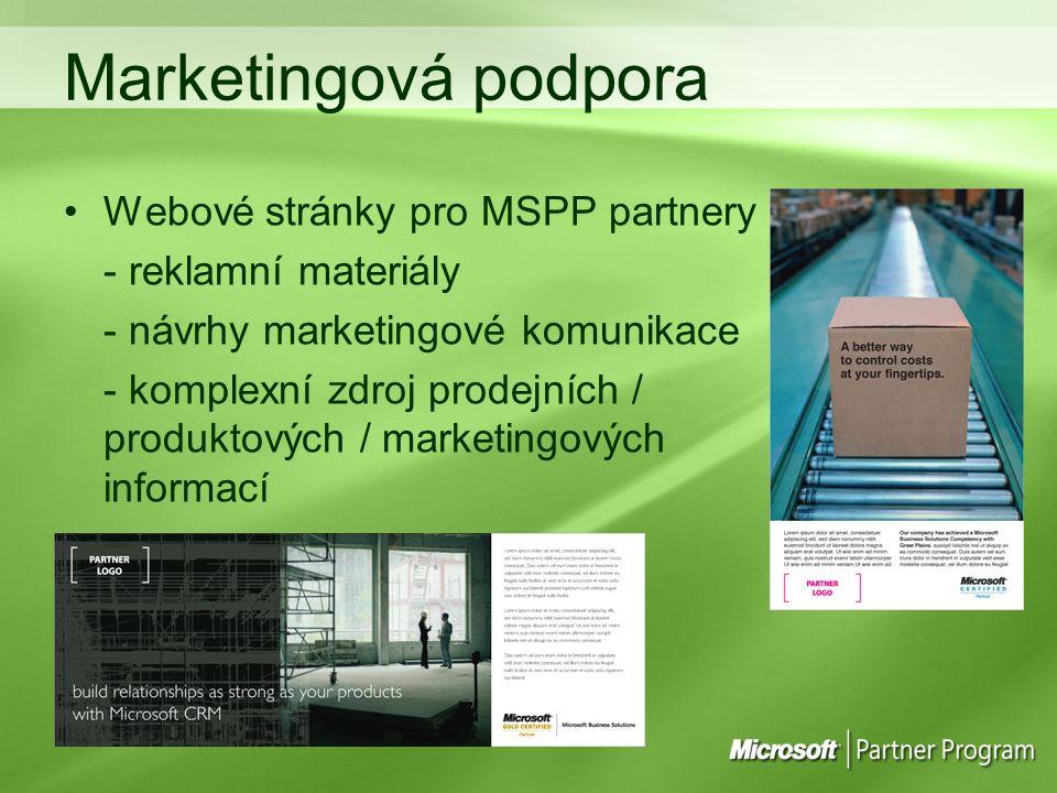 Marketingová podpora Webové stránky pro MSPP partnery - reklamní materiály - návrhy marketingové komunikace - komplexní zdroj prodejních / produktových / marketingových informací