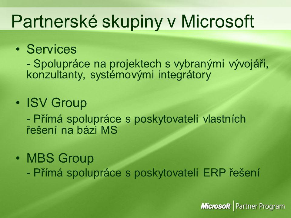 Partnerské skupiny v Microsoft Services - Spolupráce na projektech s vybranými vývojáři, konzultanty, systémovými integrátory ISV Group - Přímá spolupráce s poskytovateli vlastních řešení na bázi MS MBS Group - Přímá spolupráce s poskytovateli ERP řešení