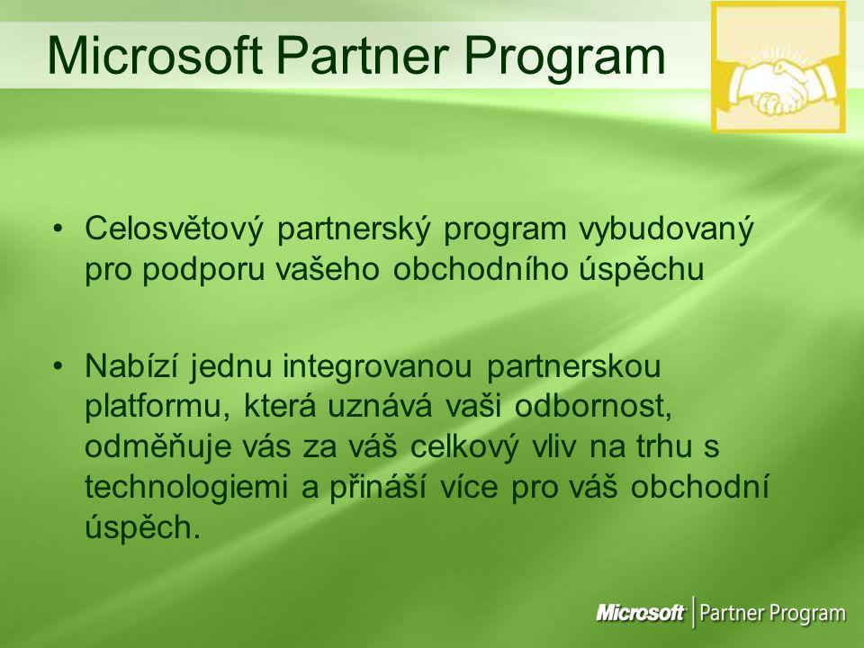 Celosvětový partnerský program vybudovaný pro podporu vašeho obchodního úspěchu Nabízí jednu integrovanou partnerskou platformu, která uznává vaši odbornost, odměňuje vás za váš celkový vliv na trhu s technologiemi a přináší více pro váš obchodní úspěch.