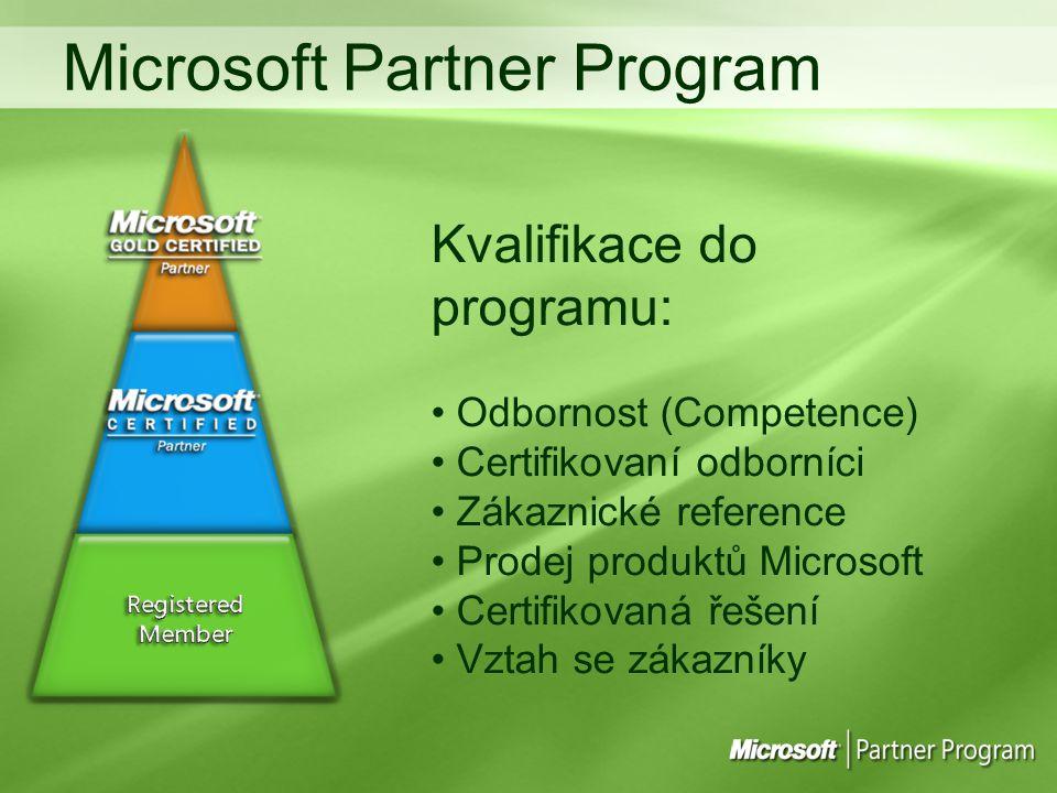 Kvalifikace do programu: Odbornost (Competence) Certifikovaní odborníci Zákaznické reference Prodej produktů Microsoft Certifikovaná řešení Vztah se zákazníky