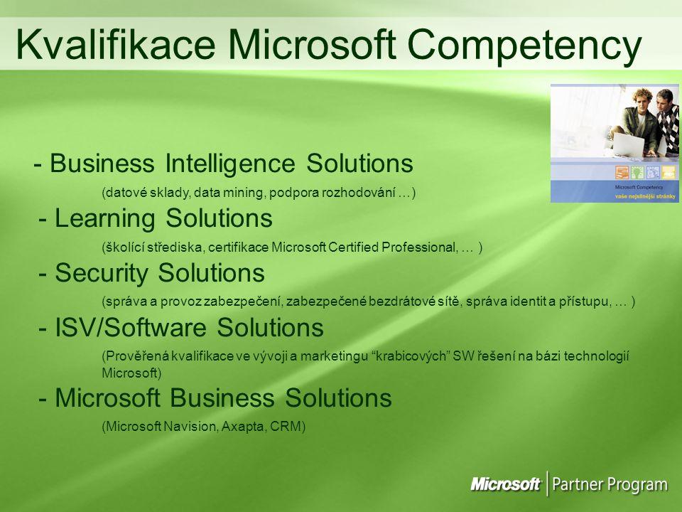 - Business Intelligence Solutions (datové sklady, data mining, podpora rozhodování …) - Learning Solutions (školící střediska, certifikace Microsoft Certified Professional, … ) - Security Solutions (správa a provoz zabezpečení, zabezpečené bezdrátové sítě, správa identit a přístupu, … ) - ISV/Software Solutions (Prověřená kvalifikace ve vývoji a marketingu krabicových SW řešení na bázi technologií Microsoft) - Microsoft Business Solutions (Microsoft Navision, Axapta, CRM) Kvalifikace Microsoft Competency