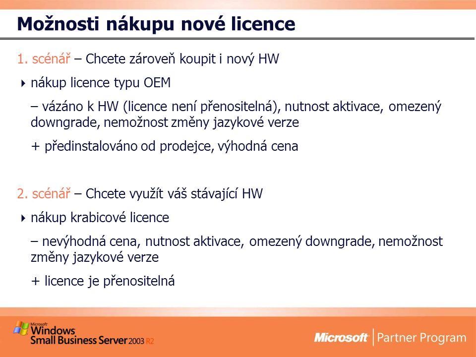 Možnosti nákupu nové licence 1.