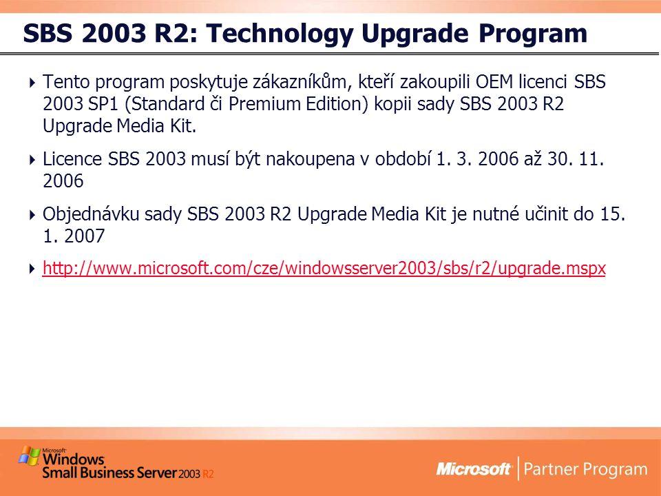SBS 2003 R2: Technology Upgrade Program  Tento program poskytuje zákazníkům, kteří zakoupili OEM licenci SBS 2003 SP1 (Standard či Premium Edition) kopii sady SBS 2003 R2 Upgrade Media Kit.