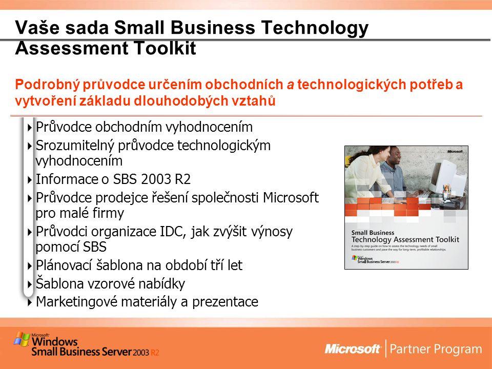 Vaše sada Small Business Technology Assessment Toolkit Podrobný průvodce určením obchodních a technologických potřeb a vytvoření základu dlouhodobých vztahů  Průvodce obchodním vyhodnocením  Srozumitelný průvodce technologickým vyhodnocením  Informace o SBS 2003 R2  Průvodce prodejce řešení společnosti Microsoft pro malé firmy  Průvodci organizace IDC, jak zvýšit výnosy pomocí SBS  Plánovací šablona na období tří let  Šablona vzorové nabídky  Marketingové materiály a prezentace