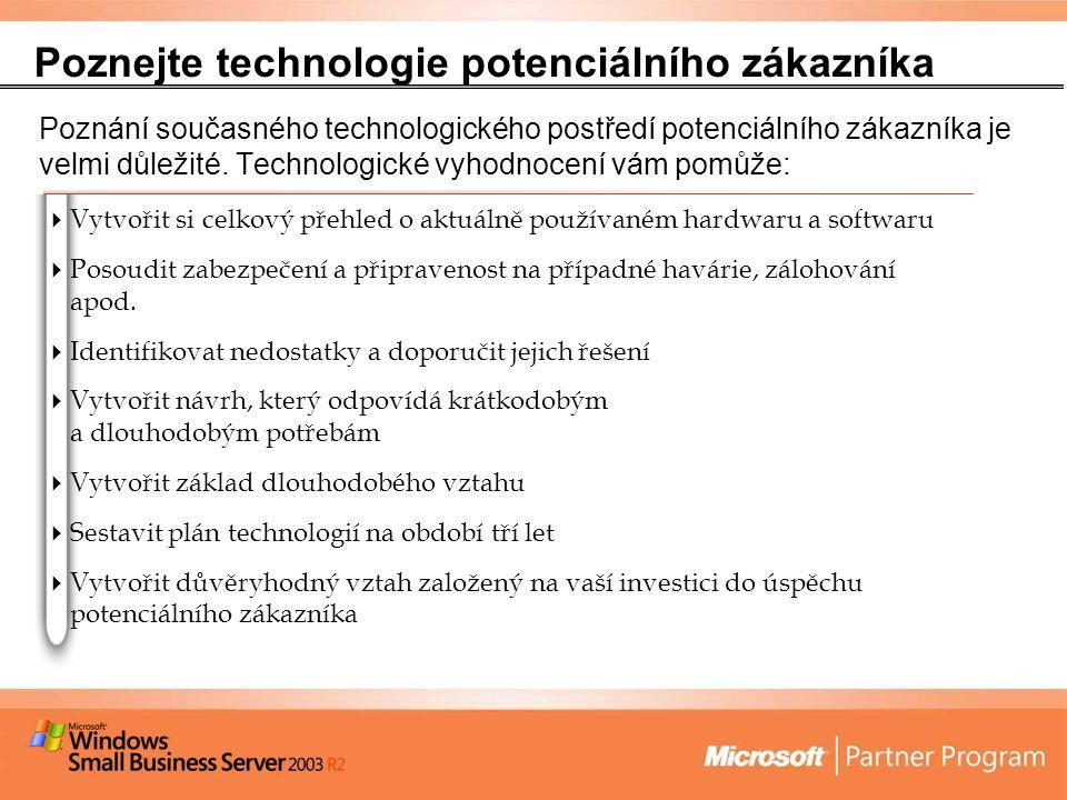 Poznejte technologie potenciálního zákazníka Poznání současného technologického postředí potenciálního zákazníka je velmi důležité.
