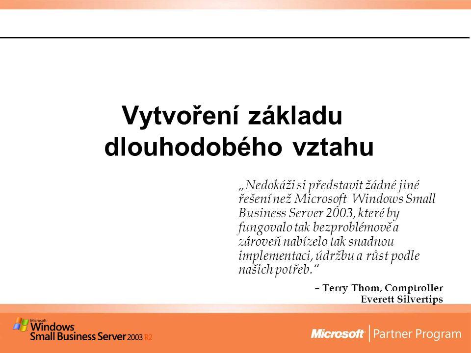 """Vytvoření základu dlouhodobého vztahu """"Nedokáži si představit žádné jiné řešení než Microsoft Windows Small Business Server 2003, které by fungovalo tak bezproblémově a zároveň nabízelo tak snadnou implementaci, údržbu a růst podle našich potřeb. – Terry Thom, Comptroller Everett Silvertips"""
