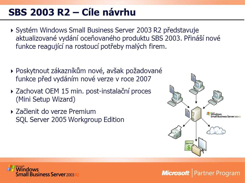 SBS 2003 R2 – Cíle návrhu  Systém Windows Small Business Server 2003 R2 představuje aktualizované vydání oceňovaného produktu SBS 2003.