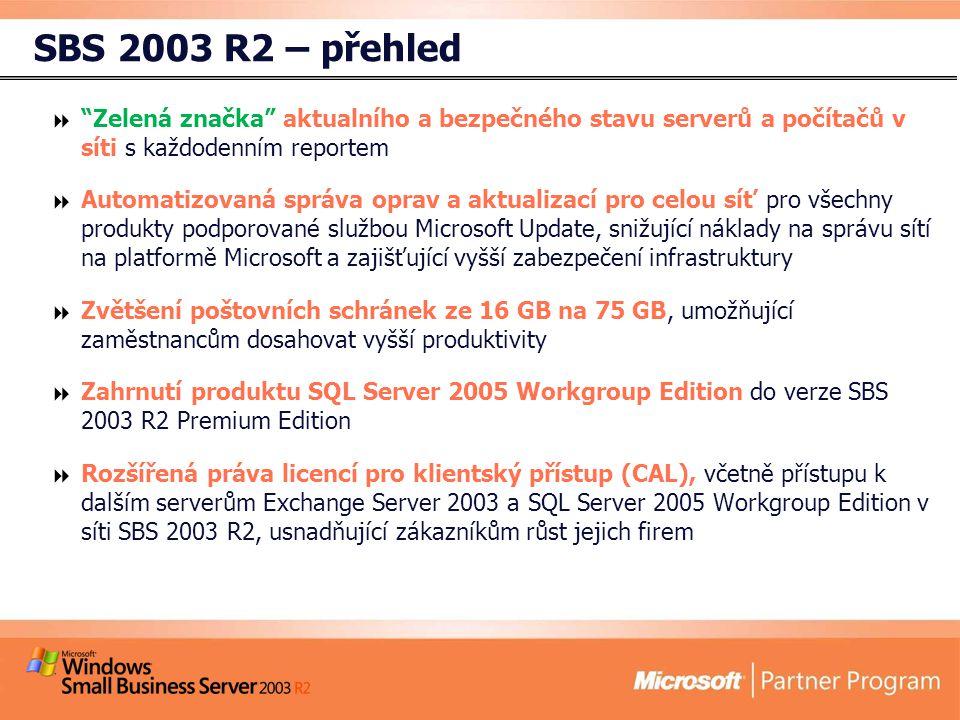 SBS 2003 R2 – přehled  Zelená značka aktualního a bezpečného stavu serverů a počítačů v síti s každodenním reportem  Automatizovaná správa oprav a aktualizací pro celou síť pro všechny produkty podporované službou Microsoft Update, snižující náklady na správu sítí na platformě Microsoft a zajišťující vyšší zabezpečení infrastruktury  Zvětšení poštovních schránek ze 16 GB na 75 GB, umožňující zaměstnancům dosahovat vyšší produktivity  Zahrnutí produktu SQL Server 2005 Workgroup Edition do verze SBS 2003 R2 Premium Edition  Rozšířená práva licencí pro klientský přístup (CAL), včetně přístupu k dalším serverům Exchange Server 2003 a SQL Server 2005 Workgroup Edition v síti SBS 2003 R2, usnadňující zákazníkům růst jejich firem