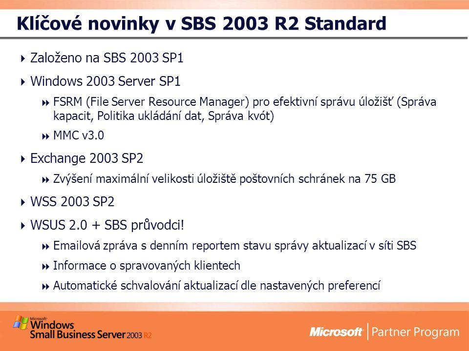 Klíčové novinky v SBS 2003 R2 Standard  Založeno na SBS 2003 SP1  Windows 2003 Server SP1  FSRM (File Server Resource Manager) pro efektivní správu úložišť (Správa kapacit, Politika ukládání dat, Správa kvót)  MMC v3.0  Exchange 2003 SP2  Zvýšení maximální velikosti úložiště poštovních schránek na 75 GB  WSS 2003 SP2  WSUS 2.0 + SBS průvodci.