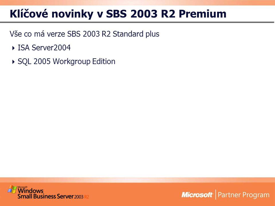 Klíčové novinky v SBS 2003 R2 Premium Vše co má verze SBS 2003 R2 Standard plus  ISA Server2004  SQL 2005 Workgroup Edition
