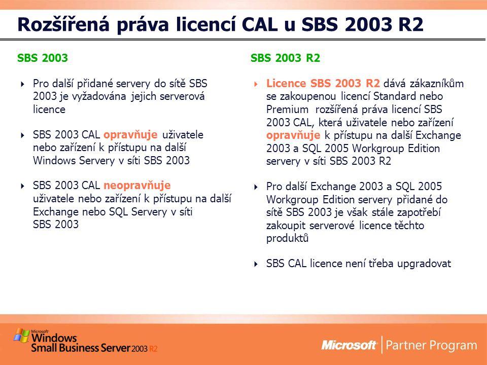 Rozšířená práva licencí CAL u SBS 2003 R2 SBS 2003  Pro další přidané servery do sítě SBS 2003 je vyžadována jejich serverová licence  SBS 2003 CAL opravňuje uživatele nebo zařízení k přístupu na další Windows Servery v síti SBS 2003  SBS 2003 CAL neopravňuje uživatele nebo zařízení k přístupu na další Exchange nebo SQL Servery v síti SBS 2003 SBS 2003 R2  Licence SBS 2003 R2 dává zákazníkům se zakoupenou licencí Standard nebo Premium rozšířená práva licencí SBS 2003 CAL, která uživatele nebo zařízení opravňuje k přístupu na další Exchange 2003 a SQL 2005 Workgroup Edition servery v síti SBS 2003 R2  Pro další Exchange 2003 a SQL 2005 Workgroup Edition servery přidané do sítě SBS 2003 je však stále zapotřebí zakoupit serverové licence těchto produktů  SBS CAL licence není třeba upgradovat