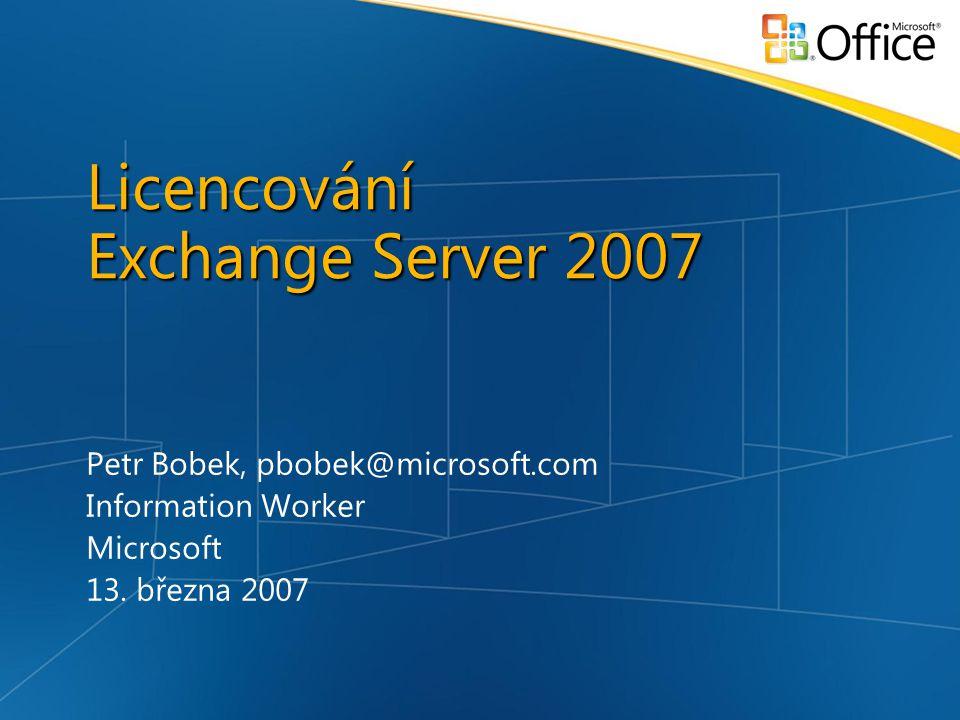 Licencování Exchange Server 2007 Petr Bobek, pbobek@microsoft.com Information Worker Microsoft 13.