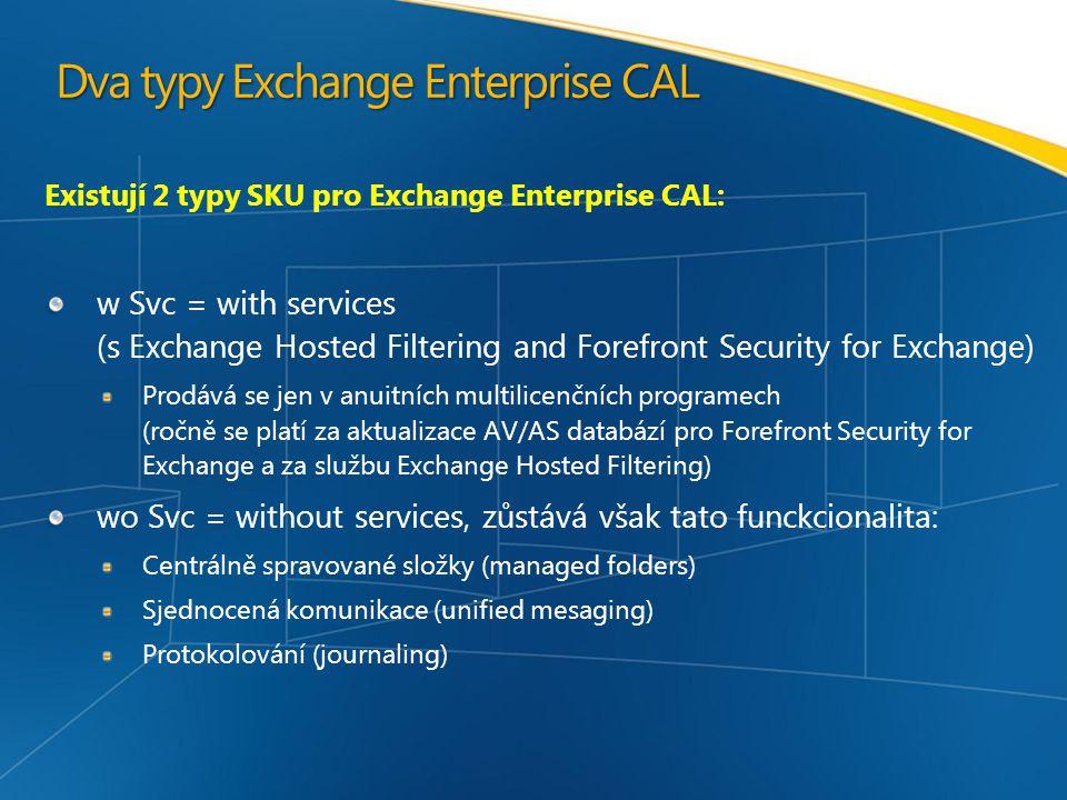 Dva typy Exchange Enterprise CAL Existují 2 typy SKU pro Exchange Enterprise CAL: w Svc = with services (s Exchange Hosted Filtering and Forefront Security for Exchange) Prodává se jen v anuitních multilicenčních programech (ročně se platí za aktualizace AV/AS databází pro Forefront Security for Exchange a za službu Exchange Hosted Filtering) wo Svc = without services, zůstává však tato funckcionalita: Centrálně spravované složky (managed folders) Sjednocená komunikace (unified mesaging) Protokolování (journaling)