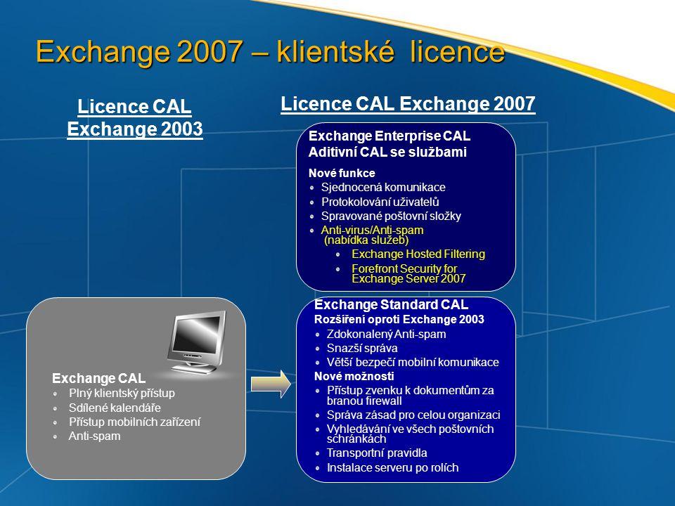 Funkce Exchange Enterprise CAL FunkcePopis Sjednocená komunikace Uživatelé mohou přistupovat ke kalendáři a ke své schránce prostřednictvím hlasu a mohou spravovat své hlasové, faxové a poštovní zprávy.
