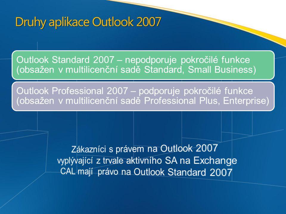 Druhy aplikace Outlook 2007 Outlook Standard 2007 – nepodporuje pokročilé funkce (obsažen v multilicenční sadě Standard, Small Business) Outlook Professional 2007 – podporuje pokročilé funkce (obsažen v multilicenční sadě Professional Plus, Enterprise)