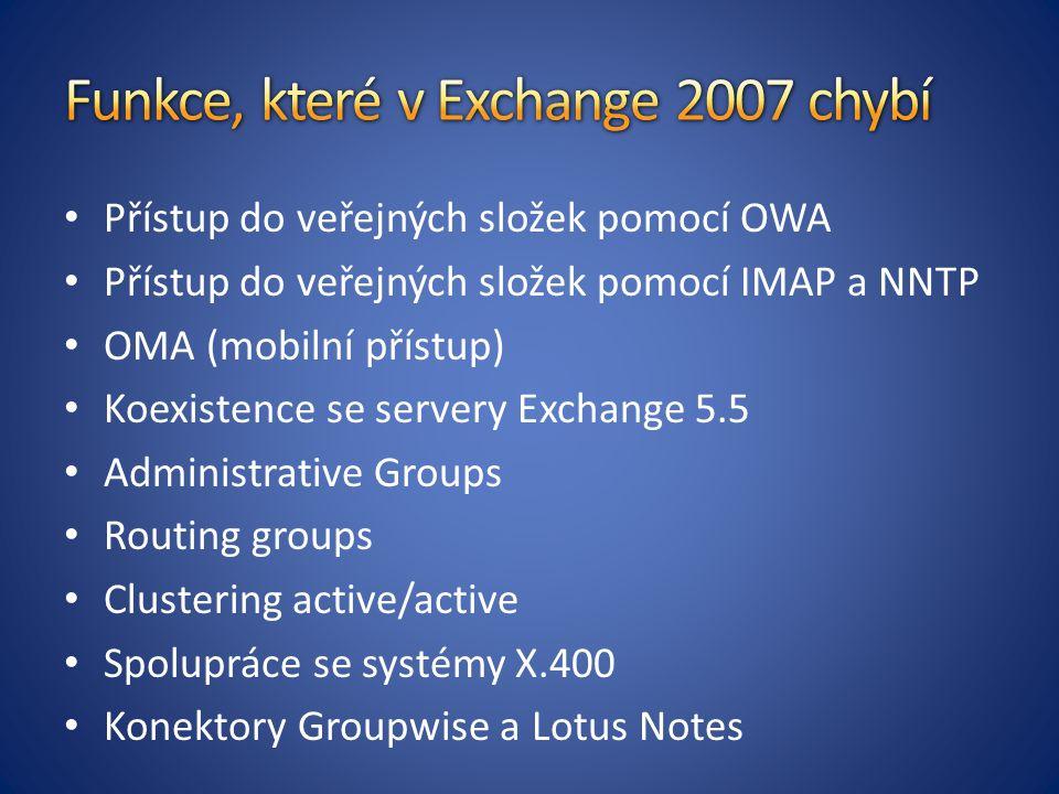 Přístup do veřejných složek pomocí OWA Přístup do veřejných složek pomocí IMAP a NNTP OMA (mobilní přístup) Koexistence se servery Exchange 5.5 Administrative Groups Routing groups Clustering active/active Spolupráce se systémy X.400 Konektory Groupwise a Lotus Notes