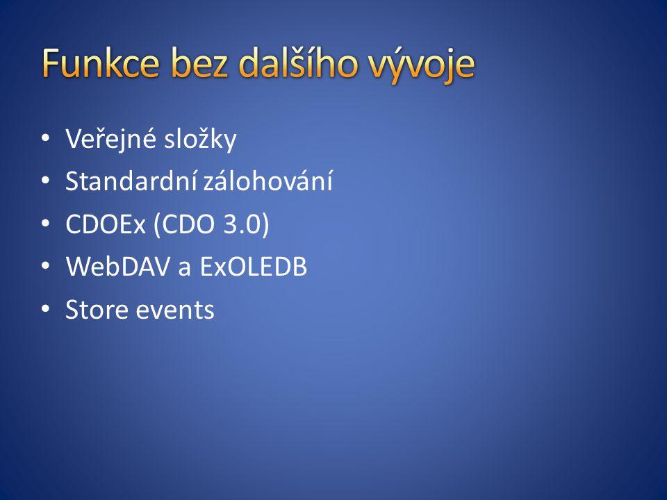 Veřejné složky Standardní zálohování CDOEx (CDO 3.0) WebDAV a ExOLEDB Store events