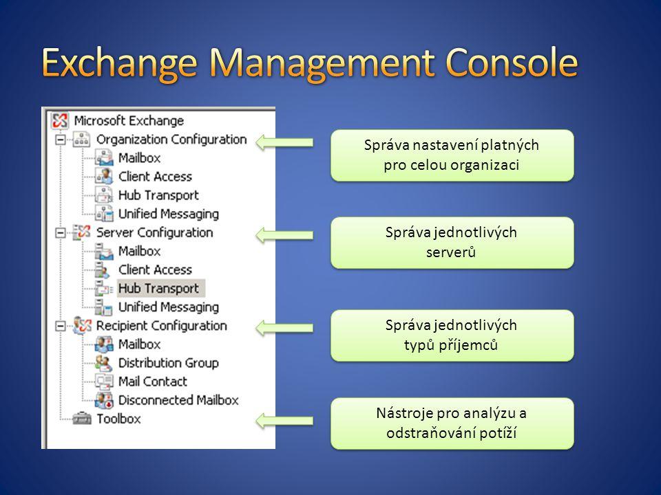Správa nastavení platných pro celou organizaci Správa jednotlivých serverů Správa jednotlivých typů příjemců Nástroje pro analýzu a odstraňování potíží