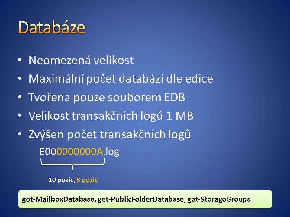 Neomezená velikost Maximální počet databází dle edice Tvořena pouze souborem EDB Velikost transakčních logů 1 MB Zvýšen počet transakčních logů E000000000A.log 10 pozic, 8 pozic get-MailboxDatabase, get-PublicFolderDatabase, get-StorageGroups