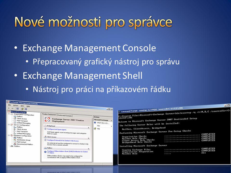 Exchange Management Console Přepracovaný grafický nástroj pro správu Exchange Management Shell Nástroj pro práci na příkazovém řádku