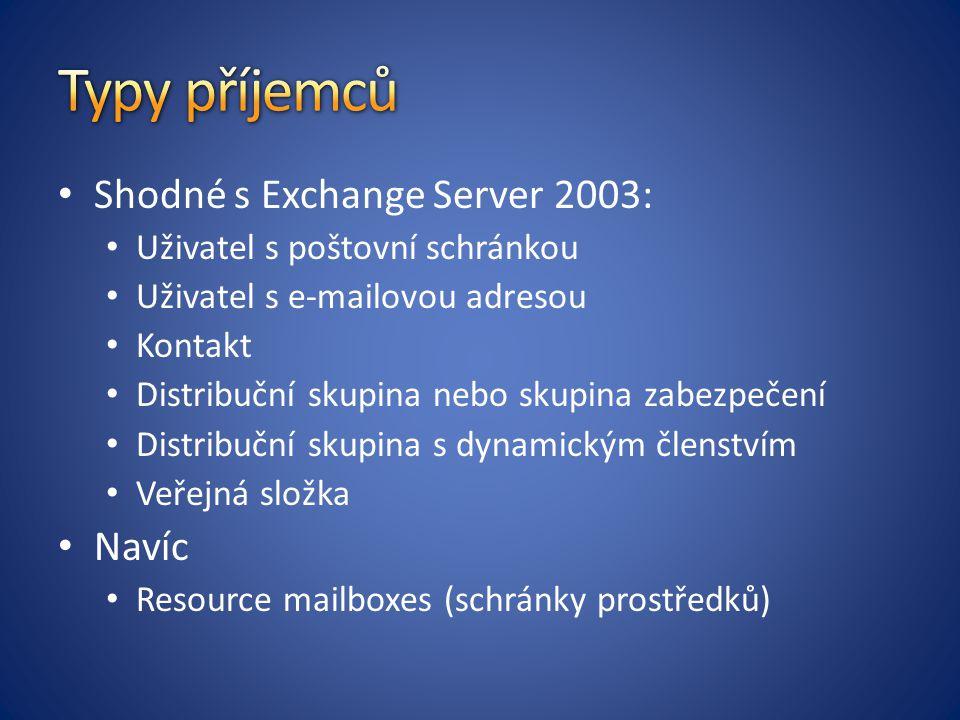 Shodné s Exchange Server 2003: Uživatel s poštovní schránkou Uživatel s e-mailovou adresou Kontakt Distribuční skupina nebo skupina zabezpečení Distribuční skupina s dynamickým členstvím Veřejná složka Navíc Resource mailboxes (schránky prostředků)