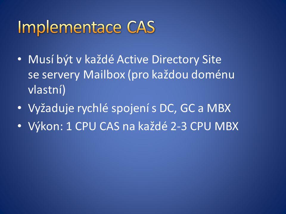 Musí být v každé Active Directory Site se servery Mailbox (pro každou doménu vlastní) Vyžaduje rychlé spojení s DC, GC a MBX Výkon: 1 CPU CAS na každé