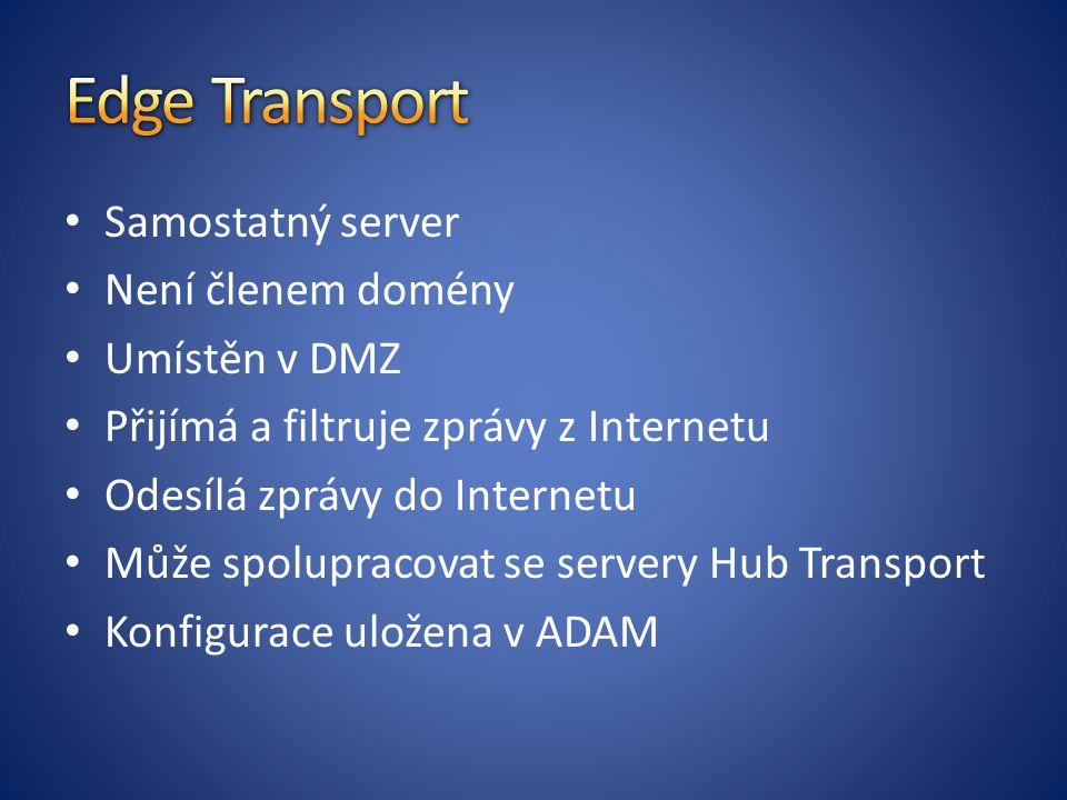 Samostatný server Není členem domény Umístěn v DMZ Přijímá a filtruje zprávy z Internetu Odesílá zprávy do Internetu Může spolupracovat se servery Hub Transport Konfigurace uložena v ADAM