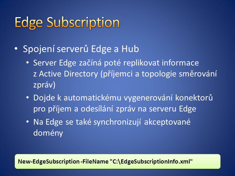 Spojení serverů Edge a Hub Server Edge začíná poté replikovat informace z Active Directory (příjemci a topologie směrování zpráv) Dojde k automatickému vygenerování konektorů pro příjem a odesílání zpráv na serveru Edge Na Edge se také synchronizují akceptované domény New-EdgeSubscription -FileName C:\EdgeSubscriptionInfo.xml