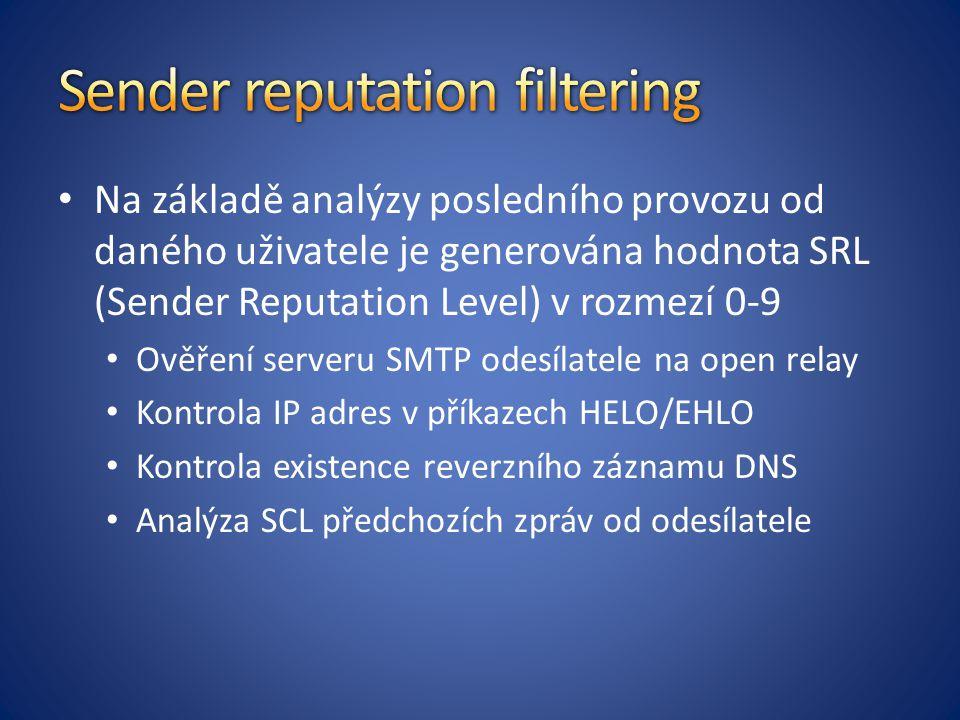 Na základě analýzy posledního provozu od daného uživatele je generována hodnota SRL (Sender Reputation Level) v rozmezí 0-9 Ověření serveru SMTP odesílatele na open relay Kontrola IP adres v příkazech HELO/EHLO Kontrola existence reverzního záznamu DNS Analýza SCL předchozích zpráv od odesílatele