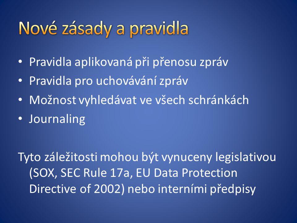 Pravidla aplikovaná při přenosu zpráv Pravidla pro uchovávání zpráv Možnost vyhledávat ve všech schránkách Journaling Tyto záležitosti mohou být vynuceny legislativou (SOX, SEC Rule 17a, EU Data Protection Directive of 2002) nebo interními předpisy