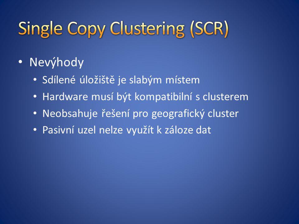 Nevýhody Sdílené úložiště je slabým místem Hardware musí být kompatibilní s clusterem Neobsahuje řešení pro geografický cluster Pasivní uzel nelze využít k záloze dat