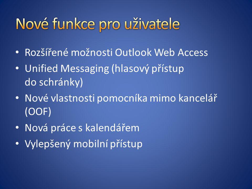Rozšířené možnosti Outlook Web Access Unified Messaging (hlasový přístup do schránky) Nové vlastnosti pomocníka mimo kancelář (OOF) Nová práce s kalen