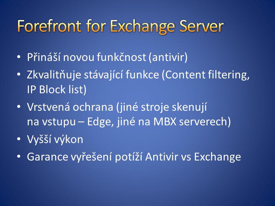 Přináší novou funkčnost (antivir) Zkvalitňuje stávající funkce (Content filtering, IP Block list) Vrstvená ochrana (jiné stroje skenují na vstupu – Ed