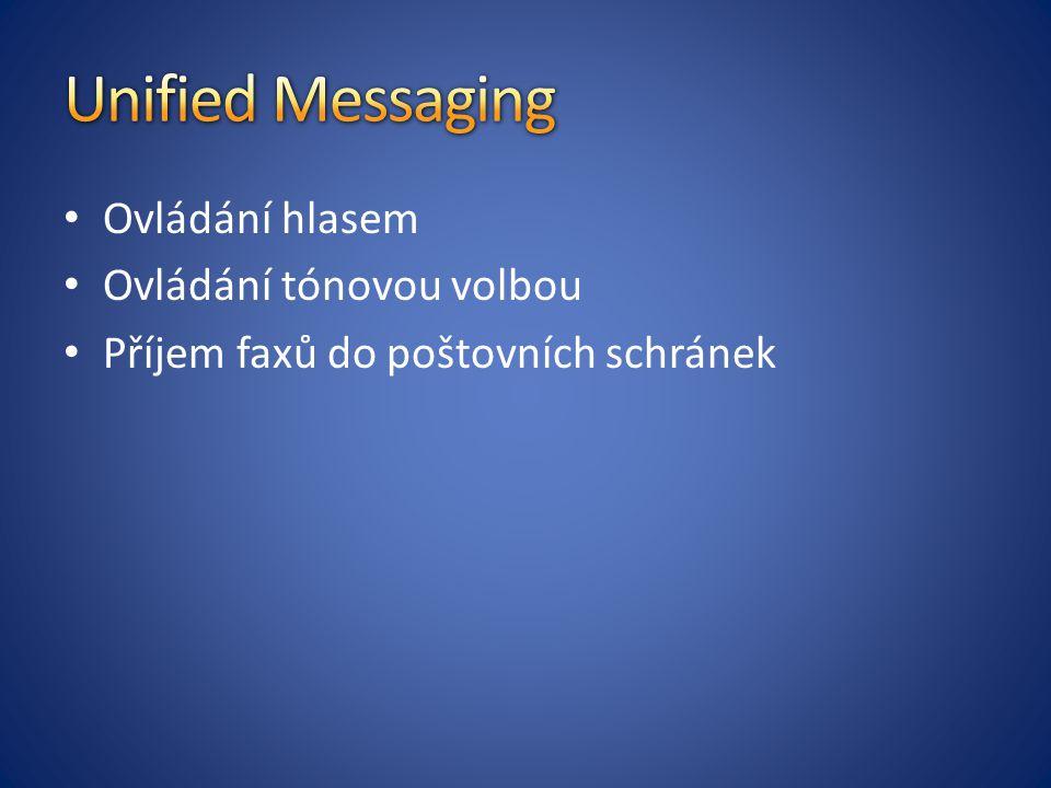Ovládání hlasem Ovládání tónovou volbou Příjem faxů do poštovních schránek