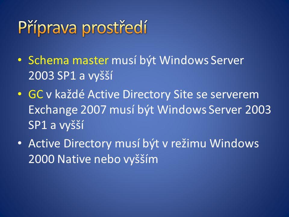 Schema master musí být Windows Server 2003 SP1 a vyšší GC v každé Active Directory Site se serverem Exchange 2007 musí být Windows Server 2003 SP1 a vyšší Active Directory musí být v režimu Windows 2000 Native nebo vyšším