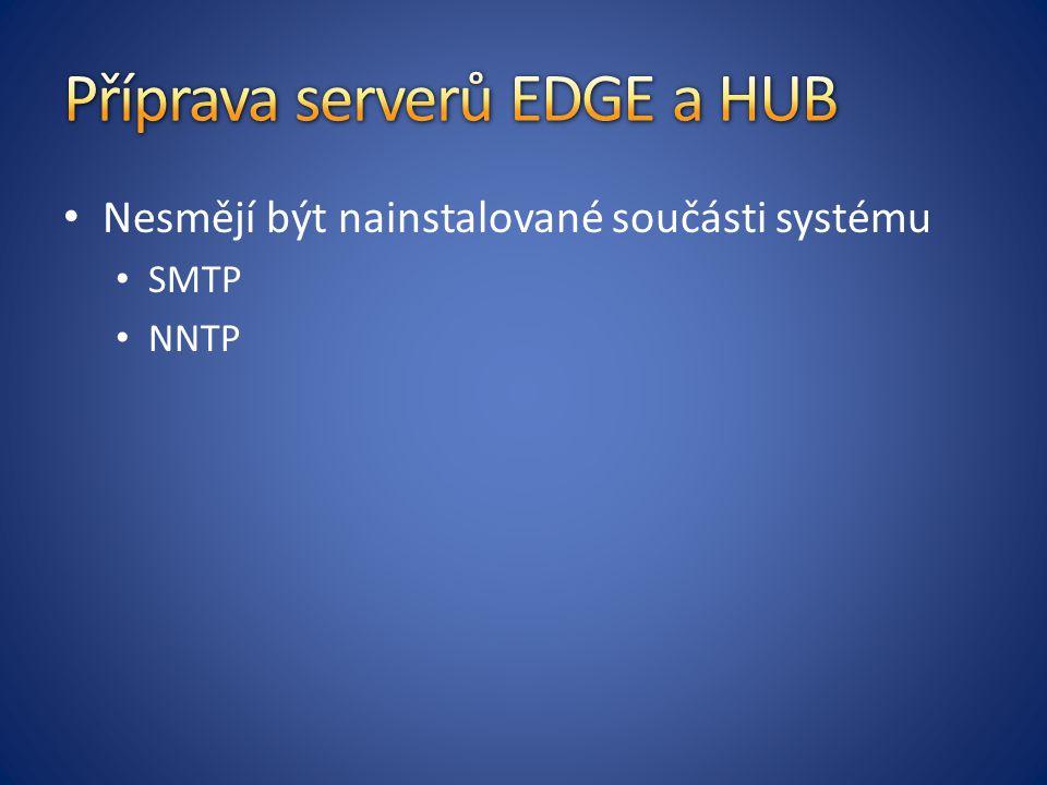 Nesmějí být nainstalované součásti systému SMTP NNTP