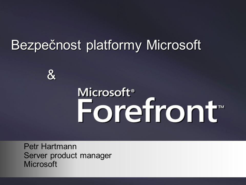 Význačné body na cestě k bezpečnosti 17/2/2000 Windows 2000 15/2/2002 Trustworthy Computing 23/4/2003 Windows Server2003 25/8/2004 Windows XPSP2 31/1/2007 Vista 4/5/2007 Forefront