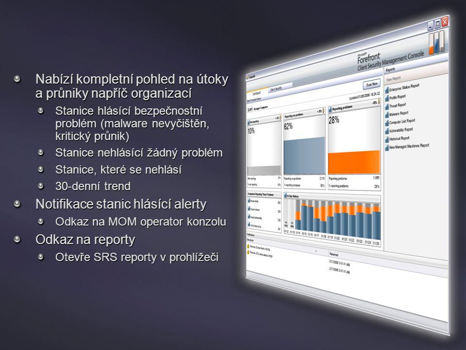 Konzola Nabízí kompletní pohled na útoky a průniky napříč organizací Stanice hlásící bezpečnostní problém (malware nevyčištěn, kritický průnik) Stanic