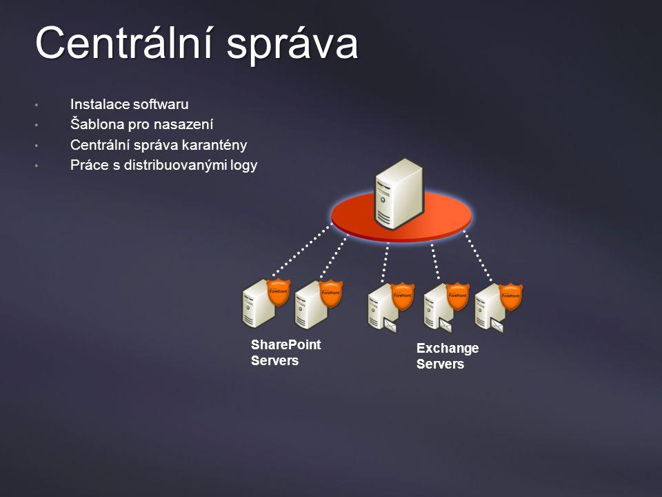 Centrální správa Instalace softwaru Šablona pro nasazení Centrální správa karantény Práce s distribuovanými logy SharePoint Servers Exchange Servers